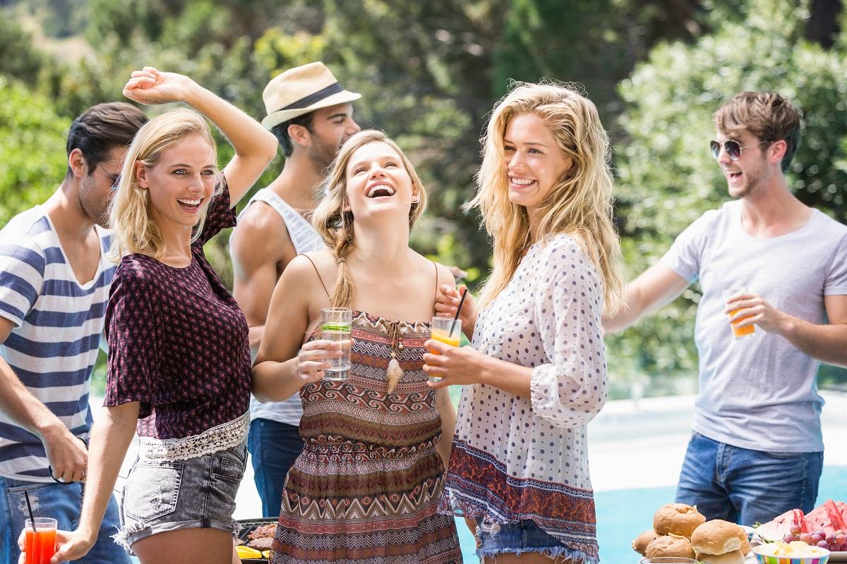 friends having backyard party